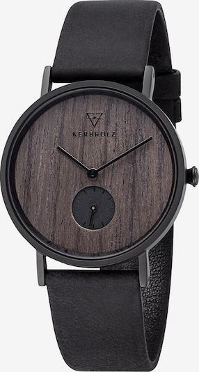 Kerbholz Uhr 'Frida' in braun / schwarz, Produktansicht