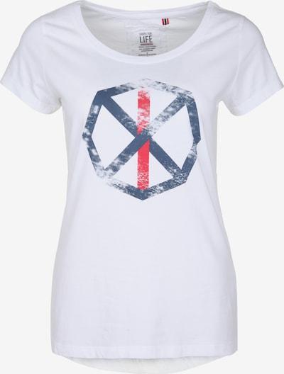 Shirts for Life T-Shirt 'Sara' in taubenblau / rot / weiß, Produktansicht