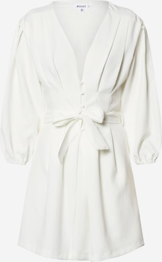 Missguided Robe d'été 'Plunge Self Button Belted Mini Dress' en blanc, Vue avec produit