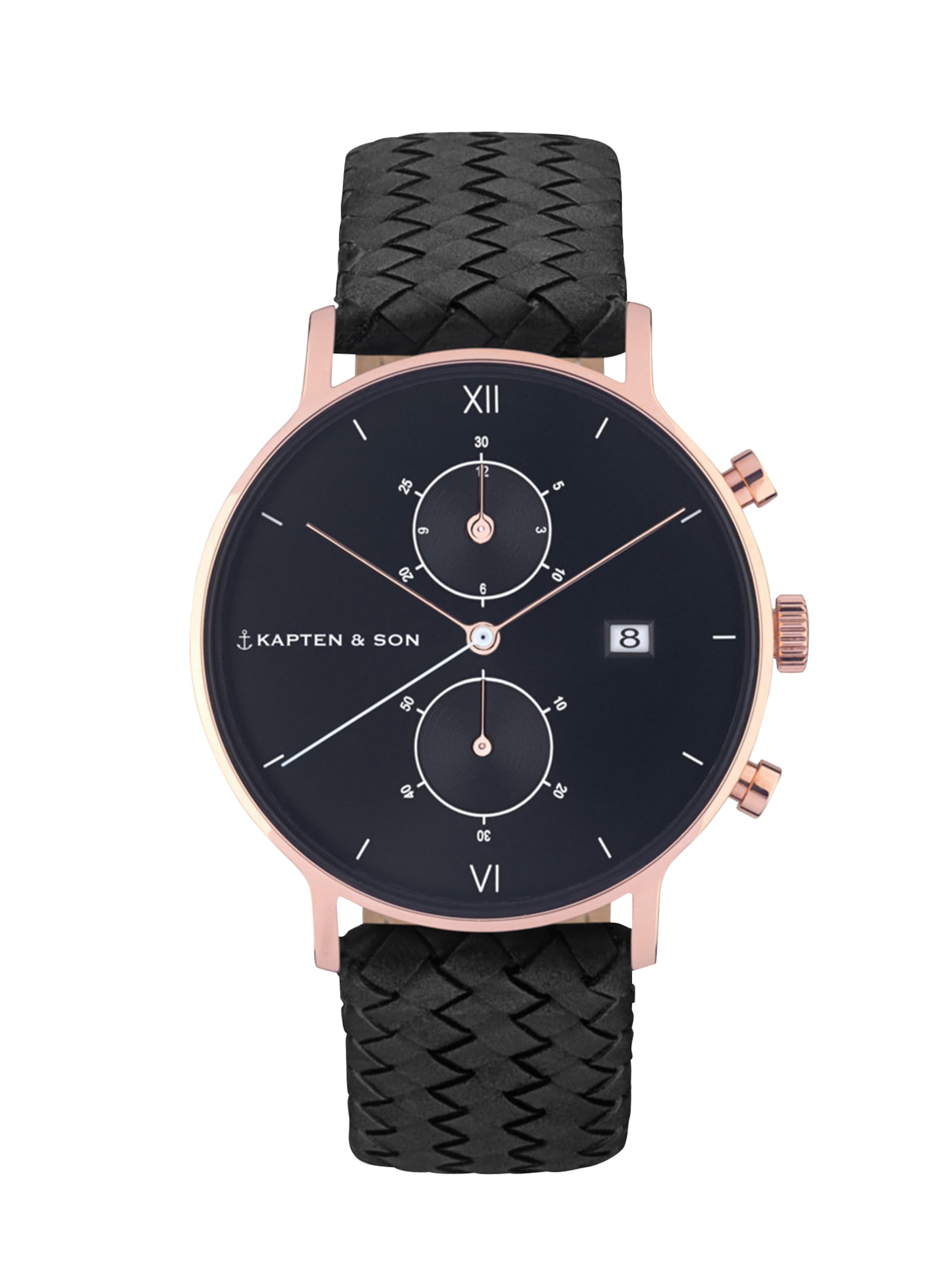Zwart 'chrono Kaptenamp; In Woven' Son Horloge Analoog nkP80Ow