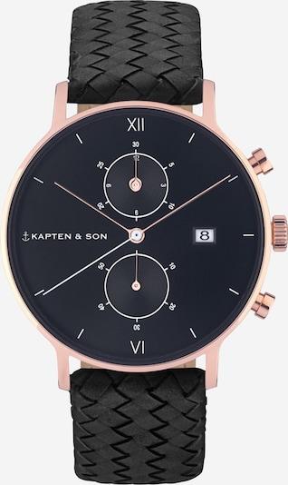 Kapten & Son Analoog horloge 'Woven' in de kleur Rose-goud / Zwart, Productweergave