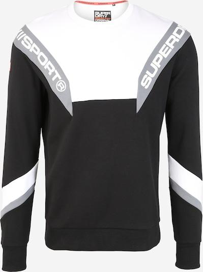 Superdry Sweatshirt 'TRI TRACK CREW' in de kleur Zwart / Wit, Productweergave