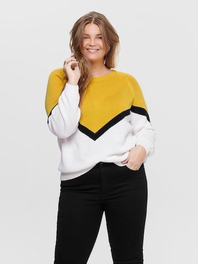 ONLY Carmakoma Pullover in gelb / schwarz / weiß, Modelansicht