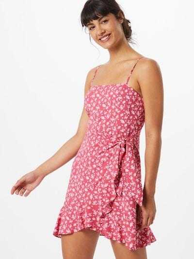Rochie de vară NA-KD pe roșu pastel / alb: Privire frontală