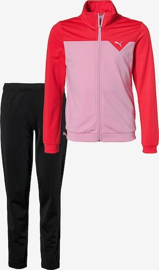 PUMA Trainingsanzug in hellpink / rot / schwarz, Produktansicht
