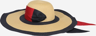TOMMY HILFIGER Hoed 'TOMMY BEACH FEDORA' in de kleur Beige / Donkerblauw / Rood, Productweergave