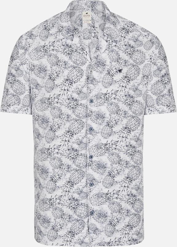 PURE Hemd in marine   weiß  Freizeit, schlank, schlank