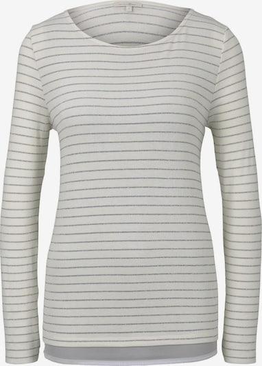TOM TAILOR DENIM T-Shirt Gestreiftes Langarmshirt mit Glitzerfäden in weiß, Produktansicht