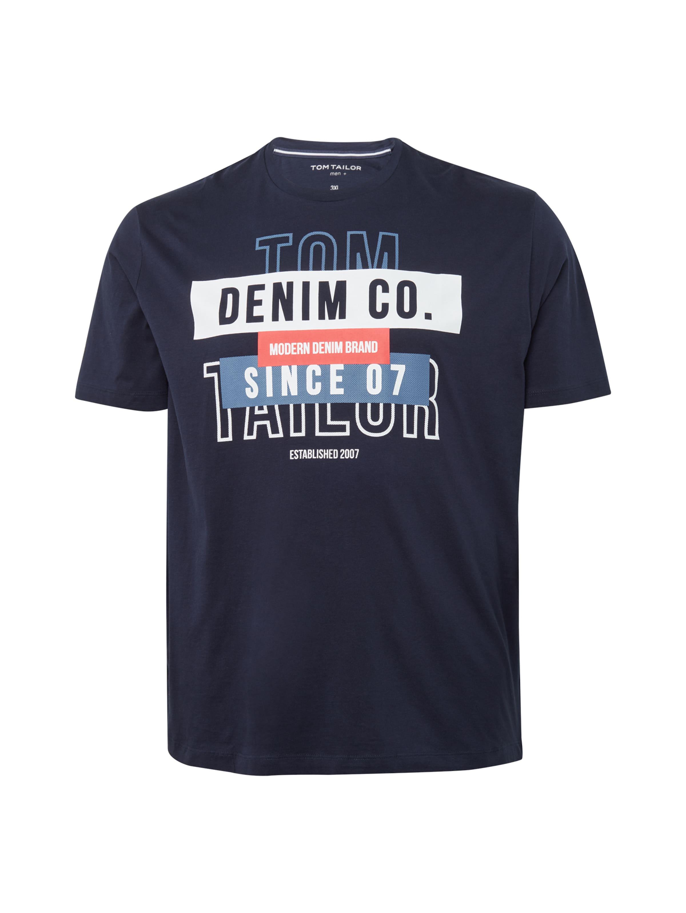 T Lachs Tailor Tom shirt Weiß In RauchblauNachtblau Denim OwX0k8nPN