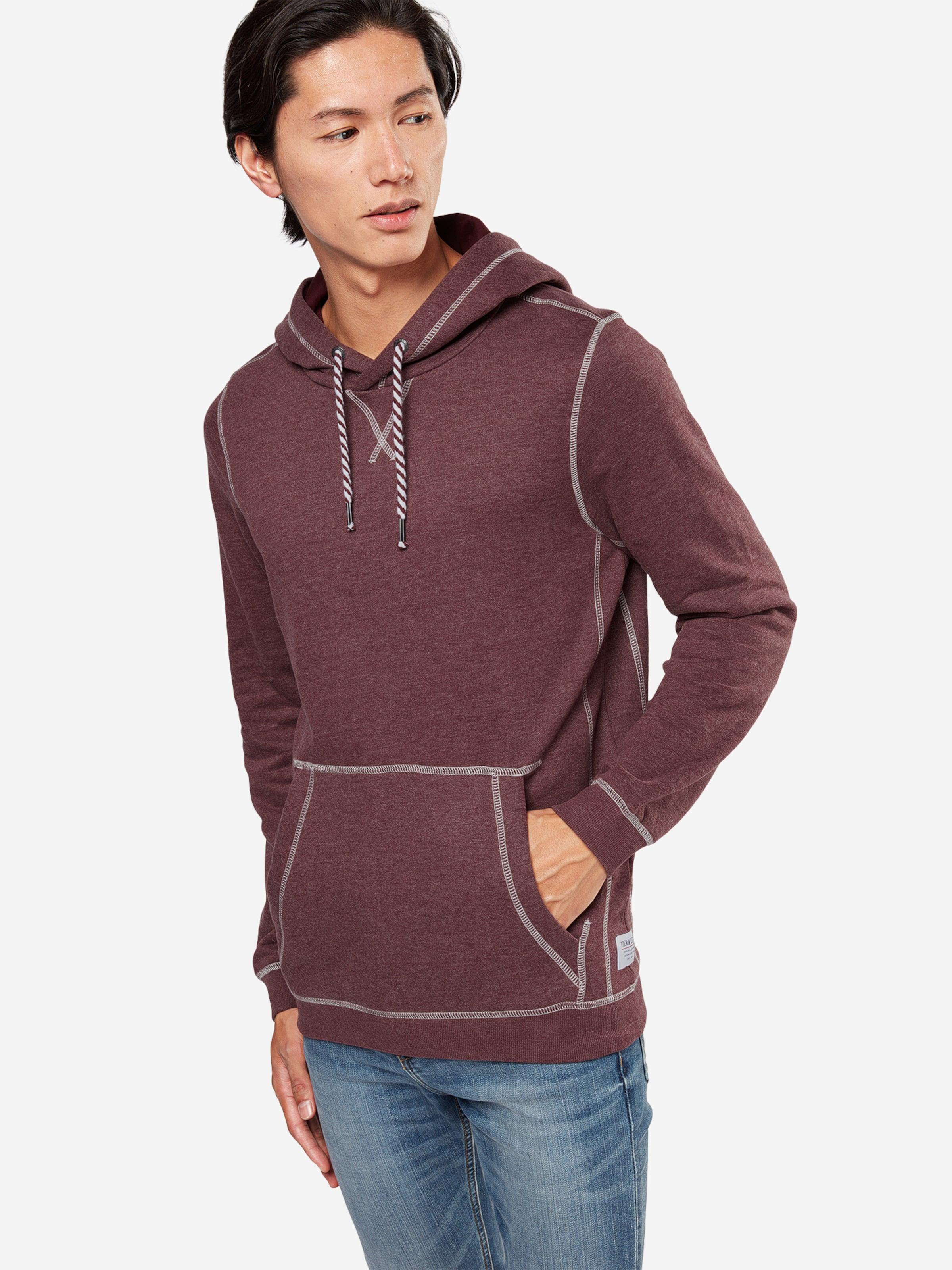TOM TAILOR DENIM Sweatshirt 'hoody with contrast stitchings' Auslass Besuch Gut Verkaufen l08vm7j