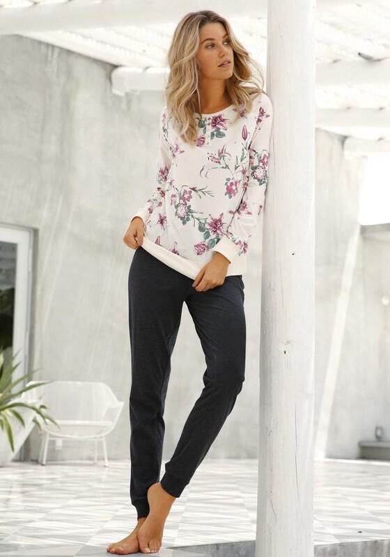 BUFFALO Langärmliger Pyjama mit Blumenprint