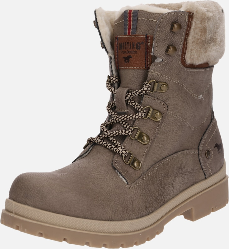À En Taupe Lacets Bottines Mustang wTkPuOXZi