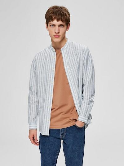 SELECTED HOMME Hemd in taubenblau / grau / weiß: Frontalansicht