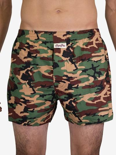 Sugar Pine Vintage-Boxershorts ' Camouflage ' in sand / braun / grün, Modelansicht