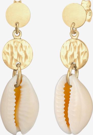 ELLI Ohrringe 'Muschel' in champagner / gold, Produktansicht