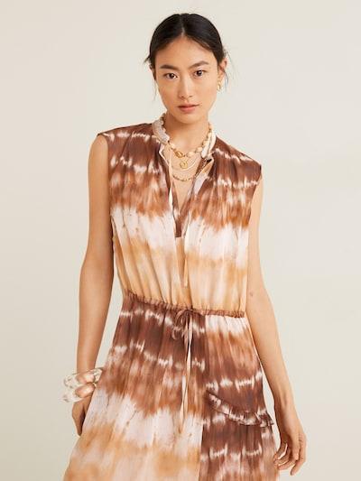 MANGO Kleid 'Tayito' in braun / weiß, Modelansicht