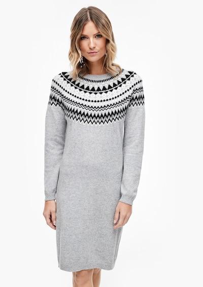 s.Oliver Gebreide jurk in de kleur Grijs gemêleerd / Zwart / Wit, Modelweergave