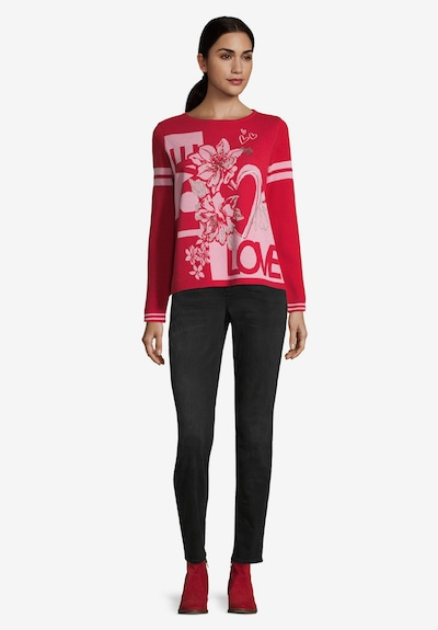 Betty Barclay Basic-Strickpullover mit Jacquard in rosé / rot: Frontalansicht