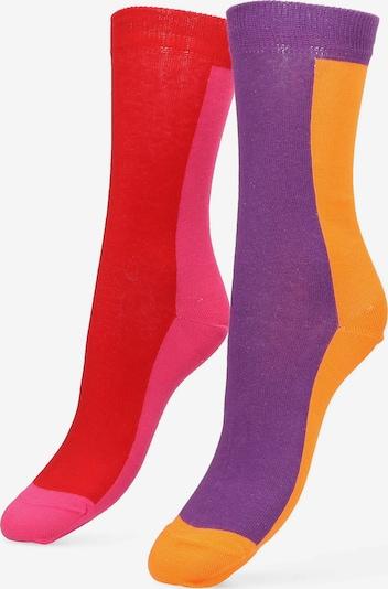 Libertad Socke 'Rewind' in dunkellila / orange / pink / hellrot, Produktansicht