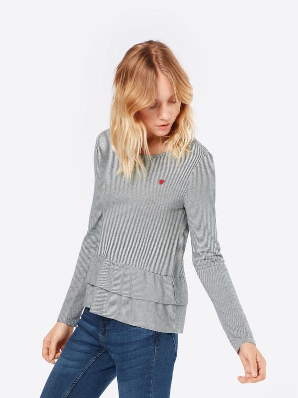 EDC BY ESPRIT Shirt 'stripe frill'