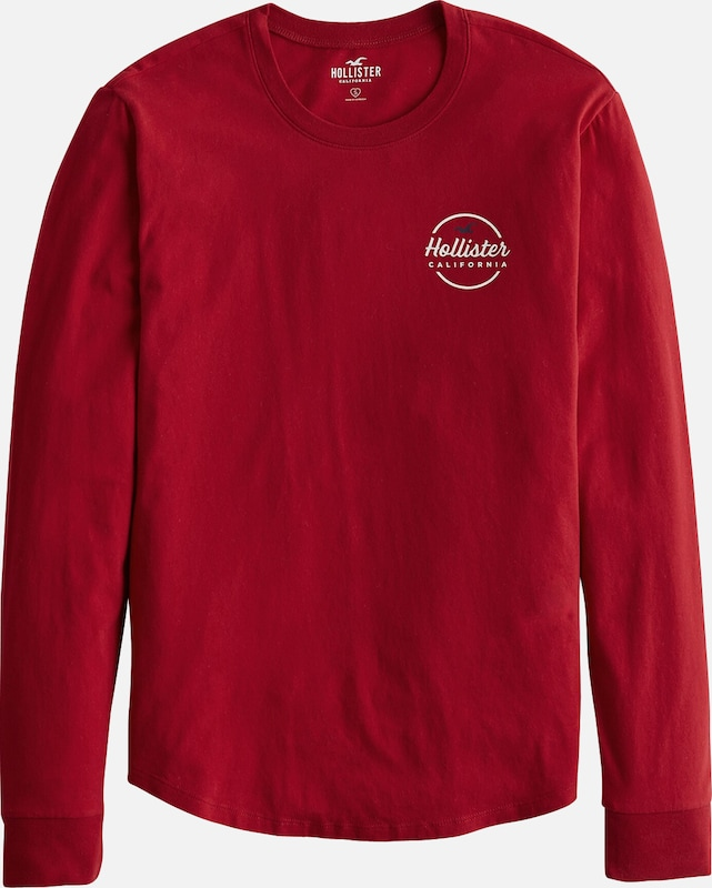 HOLLISTER Shirt'XM19-LS FLOCK CORE 6CC' in rot: Frontalansicht
