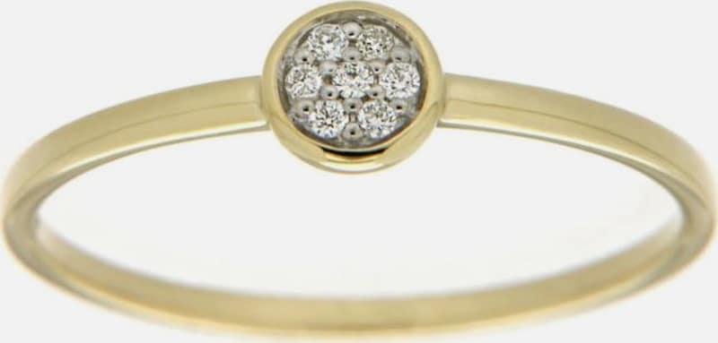 FIRETTI Diamantring 'Ringkopf rund, bicolor'