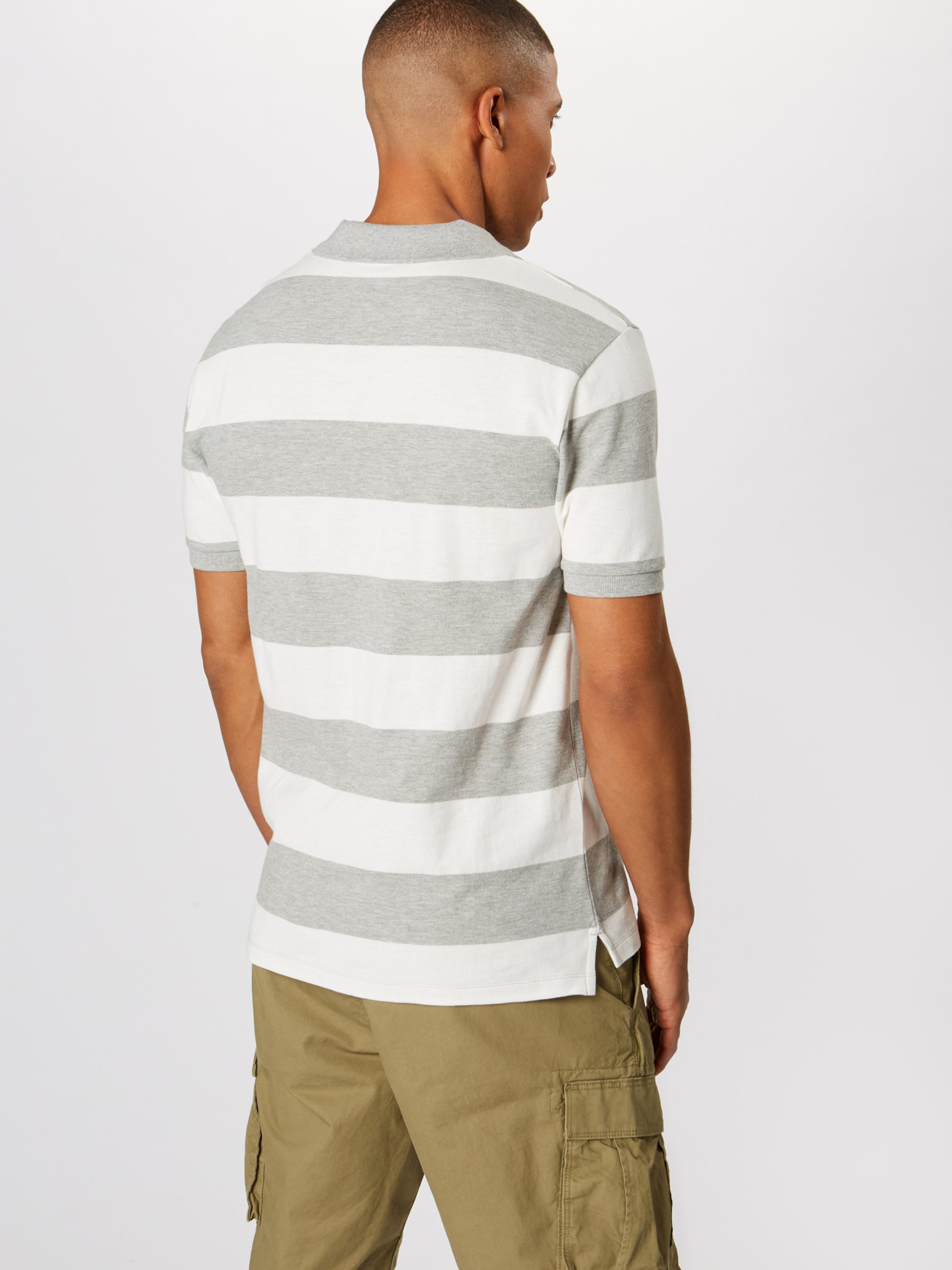 GrauWeiß Shirt Stripe' Gap 'v In pique Polo BoxrdCEQeW