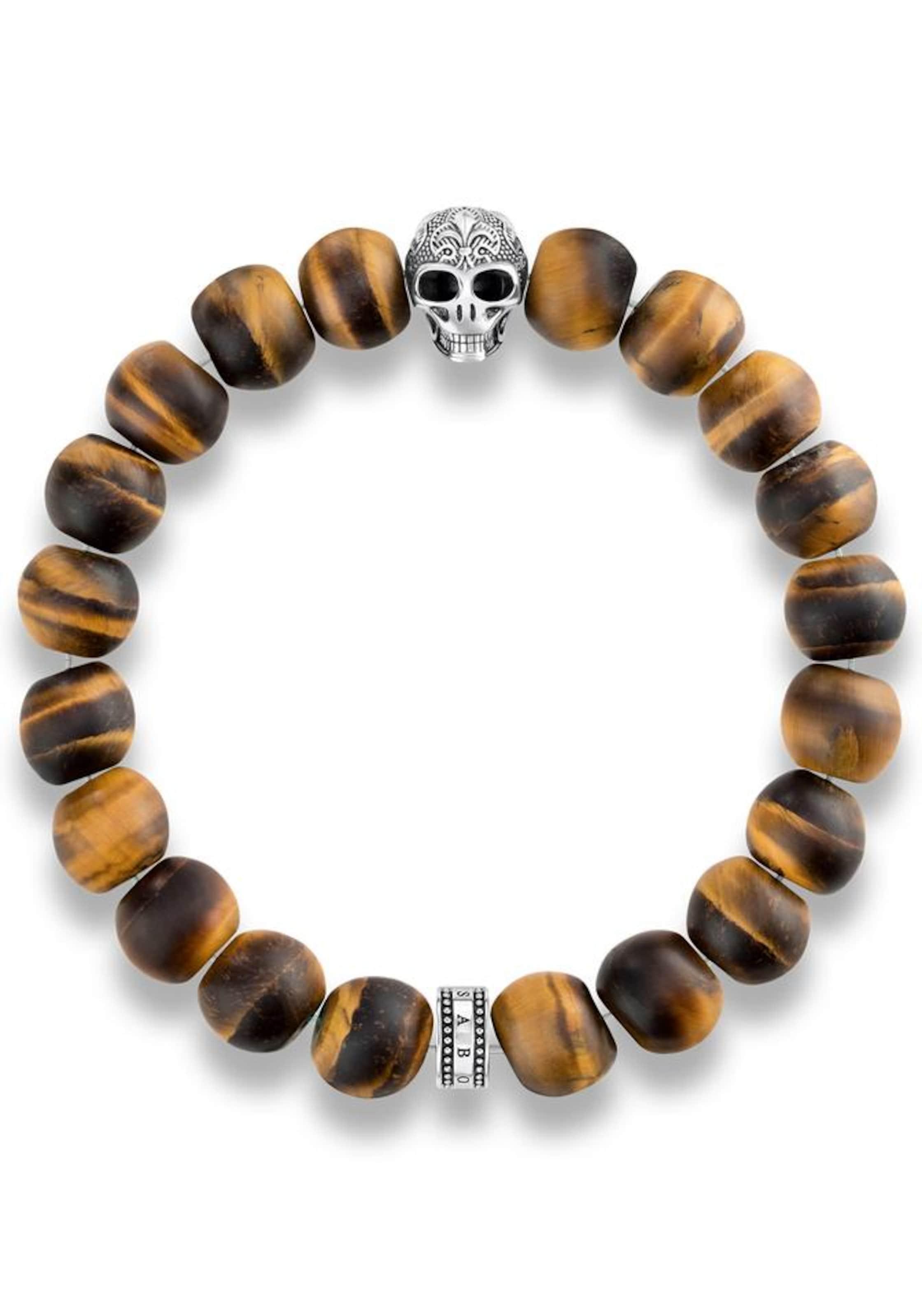 Thomas Sabo Armband 'Power Bracelet Totenkopf mit Lilie, A1701-826-2'