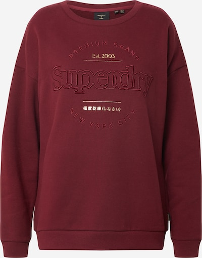 Superdry Sweatshirt 'ESTABLISHED' in de kleur Wijnrood / Wit, Productweergave