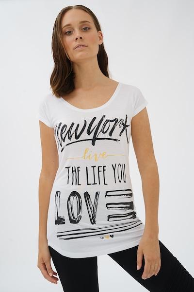 trueprodigy T-Shirt 'New York Live' in gelb / schwarz / weiß, Produktansicht