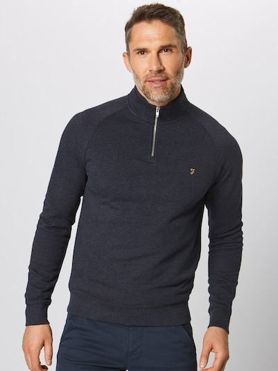 FARAH Sweat-shirt 'JIM 1/4 ZIP' en bleu marine: Vue de face