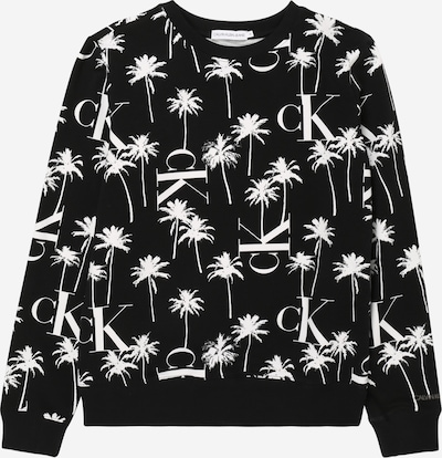 Calvin Klein Jeans Sweatshirt 'PALM AOP SWEATSHIRT' in schwarz / weiß, Produktansicht