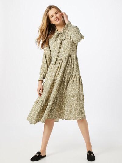 ONLY Kleid 'ONLGRACE L/S BOW MAXI DRESS WVN' in grün / weiß, Modelansicht