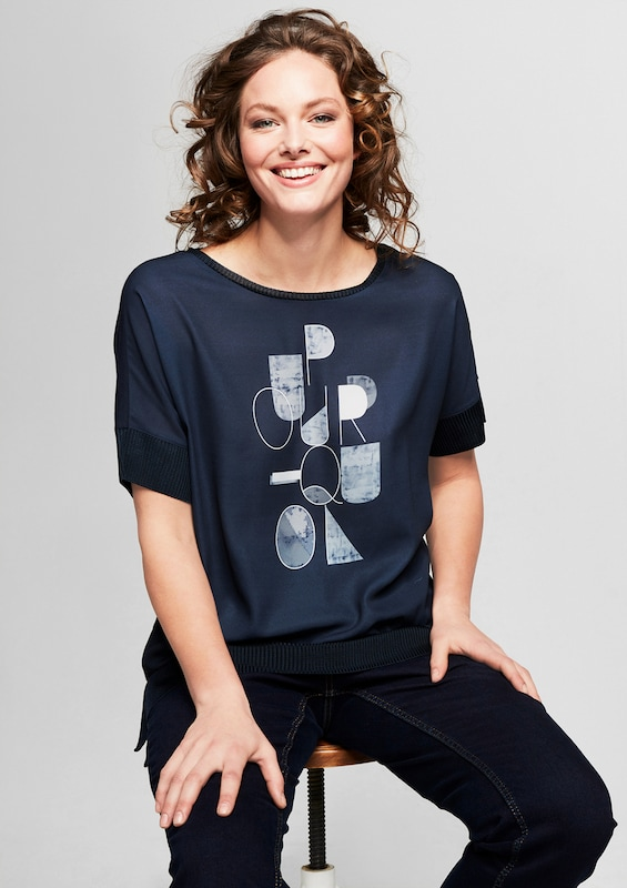 TRIANGLE Blusenshirt mit Rippbündchen