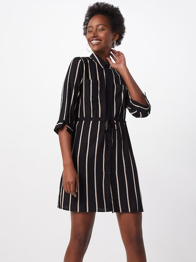 ONLY Kleid 'ONLTAMARI 3/4 SHIRT DRESS WVN NOOS' in schwarz / weiß, Modelansicht