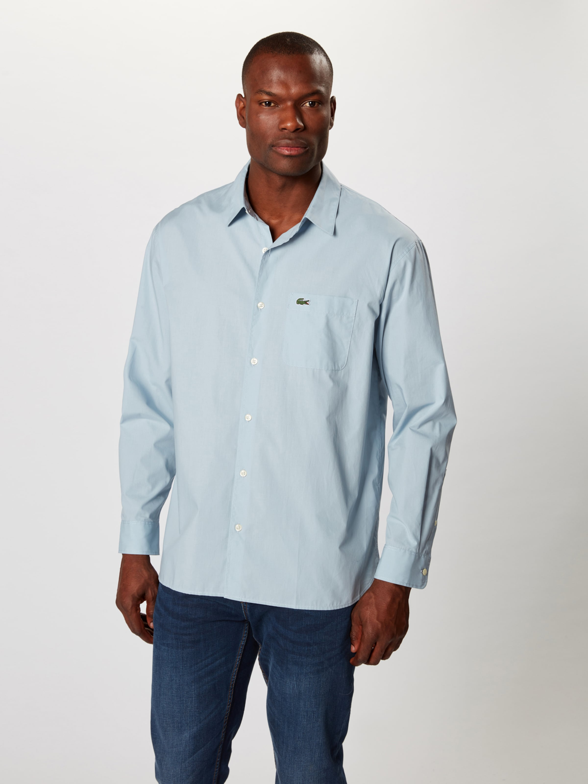 Hemd Longues' Live 'chemise Manches Hellblau Lacoste In nvNwm80
