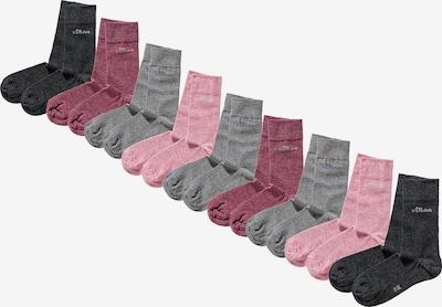 s.Oliver Socken in grau / basaltgrau / rosa / eosin, Produktansicht