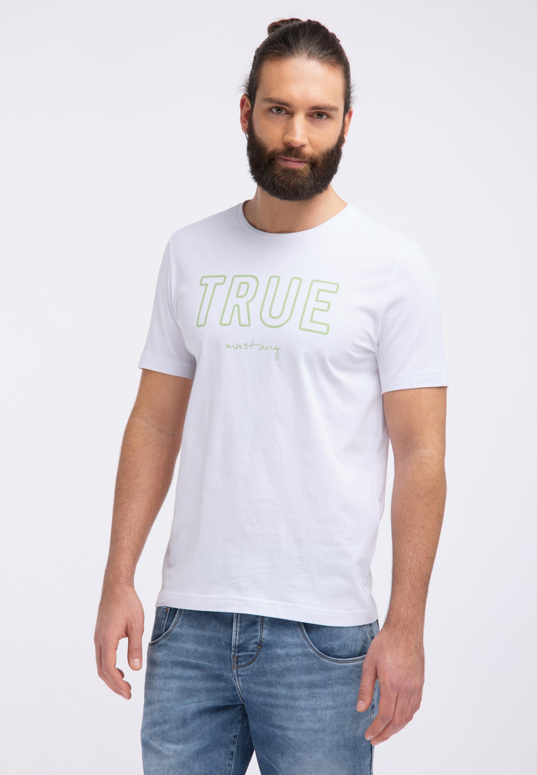 MUSTANG T-Shirt 'Wording Tee' in hellgrün / weiß Abgesteppter Saum/Kante 1007562000003