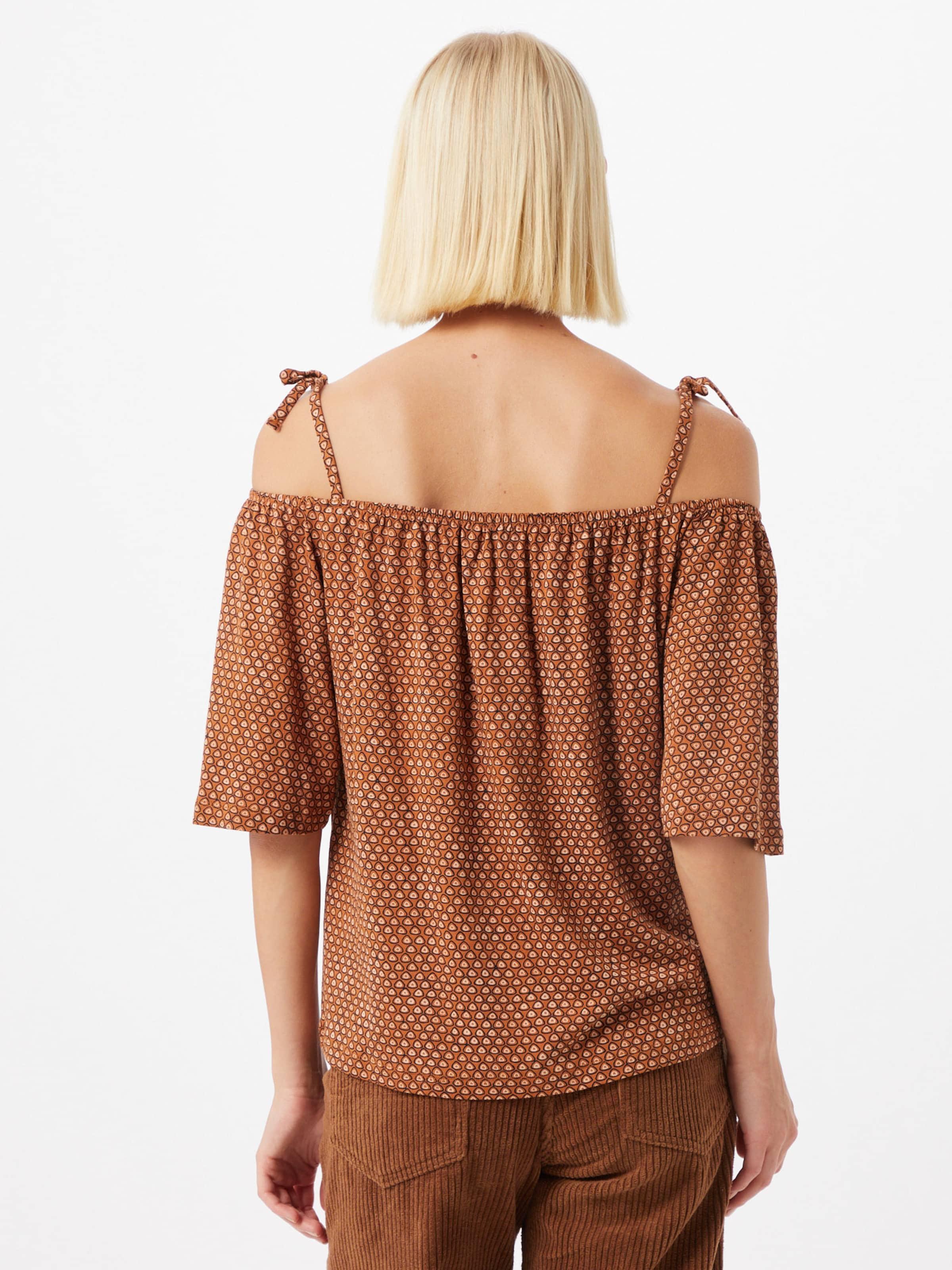ESPRIT Shirt in rostbraun / schwarz / weiß