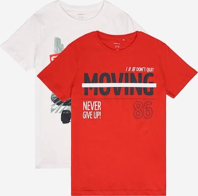 NAME IT T-Shirt in dunkelgrau / rot / weiß, Produktansicht