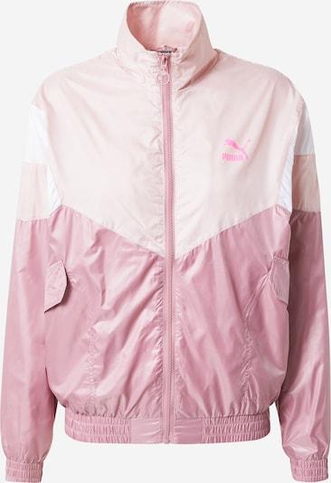 PUMA Sweatjacke 'Woven' in rosa / dunkelpink / weiß, Produktansicht