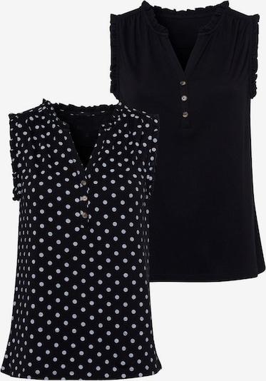 LASCANA Tanktop in schwarz / weiß, Produktansicht