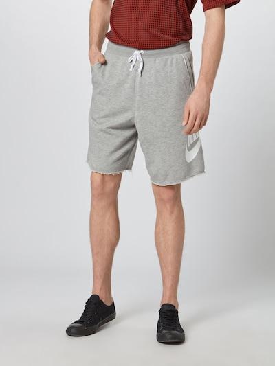 Nike Sportswear Hlače u siva melange / bijela, Prikaz modela