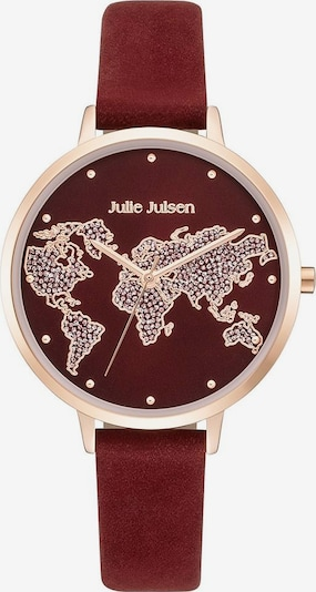 Julie Julsen Quarzuhr 'World' in rosegold / blutrot, Produktansicht