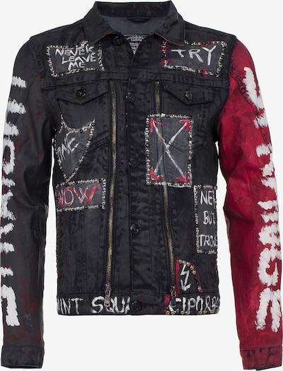 CIPO & BAXX Jeansjacke in blutrot / schwarz / weiß, Produktansicht