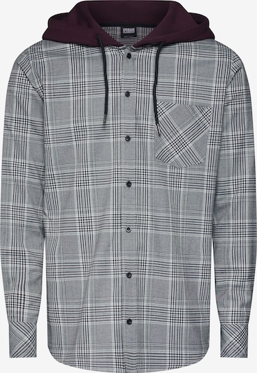 Urban Classics Overhemd 'Hooded Glencheck Shirt' in de kleur Antraciet / Wijnrood / Wit, Productweergave