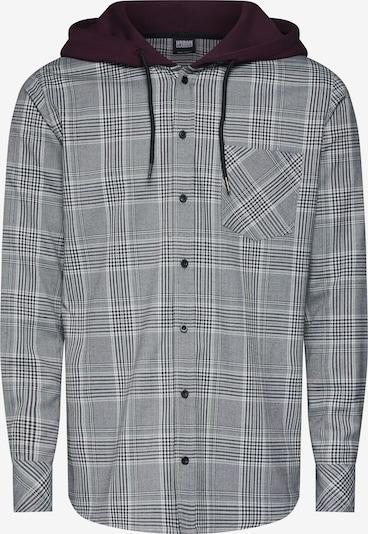Cămașă 'Hooded Glencheck Shirt' Urban Classics pe gri metalic / roșu vin / alb, Vizualizare produs