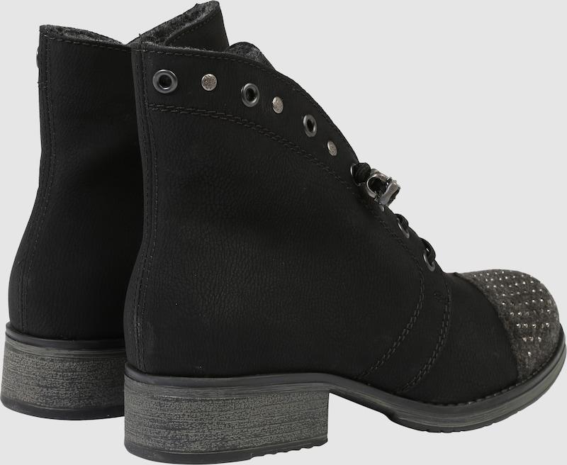 RIEKER Schnürstiefelette mit Ziersteinbesatz Verschleißfeste billige Schuhe