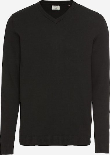JACK & JONES Tröja 'JJEBASIC KNIT V-NECK' i svart, Produktvy