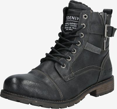TOM TAILOR DENIM Škornji z vezalkami | črna barva: Frontalni pogled